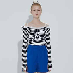 Thumbhole Lace Top[Stripe]