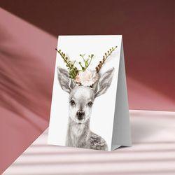 플라워포켓 스텐딩 카드 사슴
