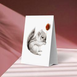 플라워포켓 스텐딩 카드 다람쥐