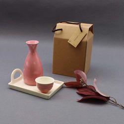 달소금 도자기 꽃봉 혼술 주병주기 선물세트(3P)-핑크SET