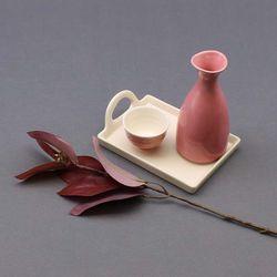달소금 도자기 꽃봉 혼술 술병술잔세트(3P)-핑크SET