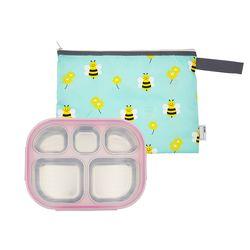 어린이집 스텐 이중도시락 식판 핑크 꿀벌대모험 파우치 세트