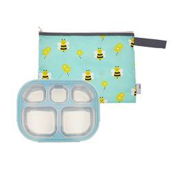 어린이집 스텐 이중도시락식판 민트 꿀벌대모험 파우치세트
