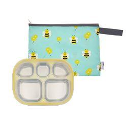 어린이집 스텐 이중도시락식판 옐로우 꿀벌모험 파우치세트