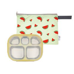 어린이집 스텐 이중도시락식판 옐로우 수박젤리 파우치세트