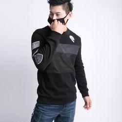 그린바나나 남자 긴팔 블랙 라운드 티셔츠 blackwing long