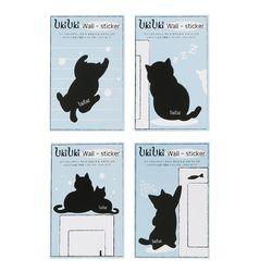 우키우키 고양이 벽지 포인트 스티커 뚱냥이 4종 SET