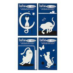 우키우키 고양이 포인트 야광 스티커 날씬이 4종 SET