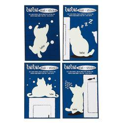 우키우키 고양이 포인트 야광 스티커 뚱냥이 4종 SET