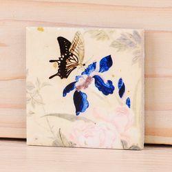 [명화 타일 마그넷] 남계우 - 분홍꽃과 나비