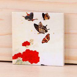 [명화 타일 마그넷] 남계우 - 빨강꽃과 나비