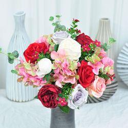 화사한레드핑크 산소꽃 성묘 꽃다발 추모제 조화