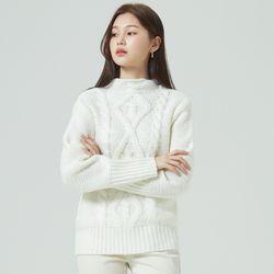 앞포인트 꽈배기 스웨터 MIWKAA127B
