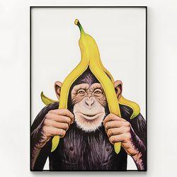 대형 메탈 동물 바나나 그림 액자 침팬지는 바나나를 좋아해