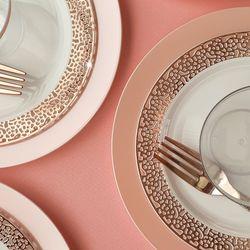 [무료배송] 쓱싹 고급 플라스틱 일회용 예쁜 접시 컵 피치로즈 32P