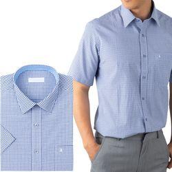 사각체크 블루 레귤러 반팔 와이셔츠RFV21413