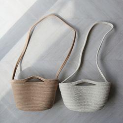 핸드메이드 니트 바구니 토트 숄더백 파우치 세트 (2color)