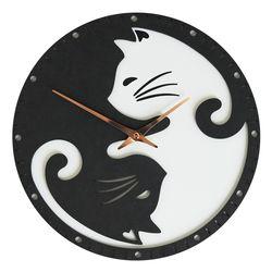 귀여운 블랙앤화이트 고양이 무소음 벽시계