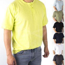빈티지 오버핏 슬리브 헨리넥 반팔 티셔츠 7종MOD051