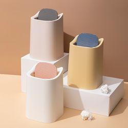 이중 커버 책상 화장대 미니 스윙 휴지통 3color