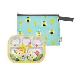 어린이집 이중도시락식판 쪼로롱 꿀벌모험 파우치세트