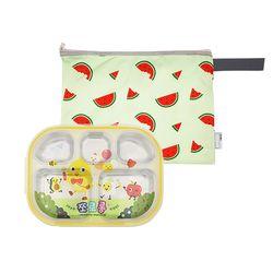 어린이집 이중도시락식판 쪼로롱 수박젤리 파우치세트