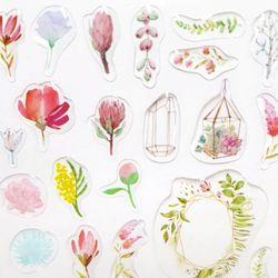 [인디고샵]알록달록 꽃축제 투명 입체 스티커 (1개)