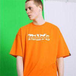 브릭 쉐도우 로고 티셔츠-오렌지