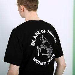 멜팅 베어 로고 티셔츠-블랙