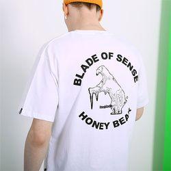 멜팅 베어 로고 티셔츠-화이트