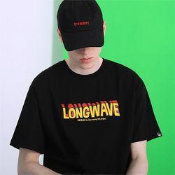 롱웨이브 티셔츠-블랙