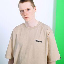 피그먼트 로고자수 티셔츠 -베이지