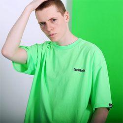 피그먼트 로고자수 티셔츠 -네온그린