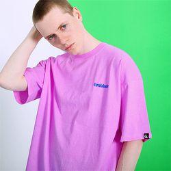피그먼트 로고자수 티셔츠 -네온퍼플