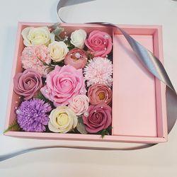 카네이션 장미 플라워 박스(핑크박스) L