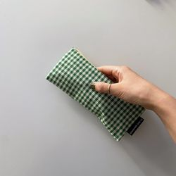 초록 잔체크 필통 (Green small check pencil case)