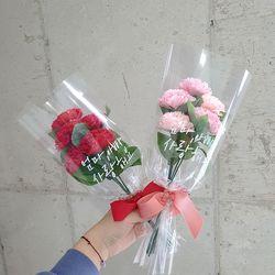 레터링 비누꽃 카네이션 5송이 꽃다발