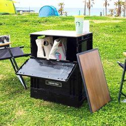 캠퍼필드 오픈도어 폴딩박스 캠핑테이블 포켓 2단 세트