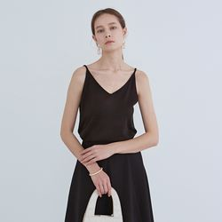 SIMPLE V-NECK KNIT SLEEVELESS BLACK