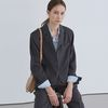 LINEN SET-UP CROP JACKET CHARCOAL