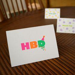 HBD 해피벌스데이 레터프레스 카드
