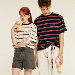 Youth Stripe Half T-Shirts (navy)