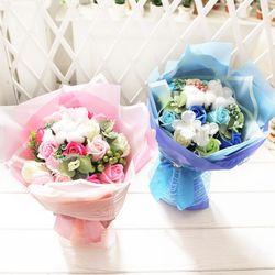 코튼 비누장미 꽃다발 블루 로즈데이 성년의날 선물