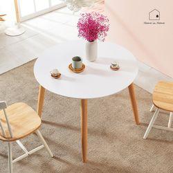 홈인홈 화이트 HPL 원목 원형 식탁 테이블 1000 AD018