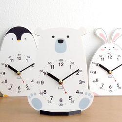 아이방 인테리어 교육용 무소음 탁상시계-북극곰 펭귄 토끼
