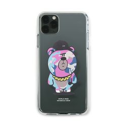 PHONE CASE CAMO BEAR PINK CLEAR iPHONE 11 11 Pro 11 Pro Max