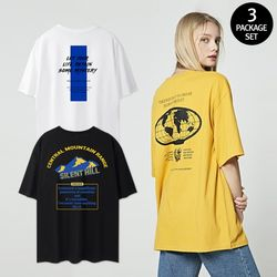 [3pack] T-shirts edition 프린트 오버핏 반팔티 패키지