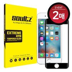 아이폰 6S+ 6+ 풀커버 강화유리 액정보호필름 (블랙) 2매