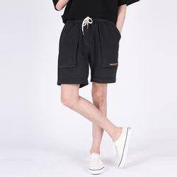 (UNISEX)Denim Vintage Shorts(BLACK)