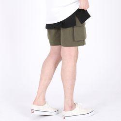 (UNISEX)Mezzo Cargo Shorts(KHAKI)